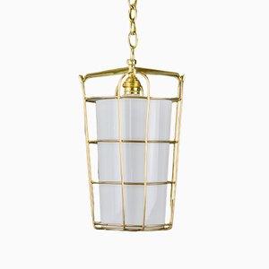 Lampada a sospensione in ottone e vetro satinato di J.T. Kalmar, anni '50