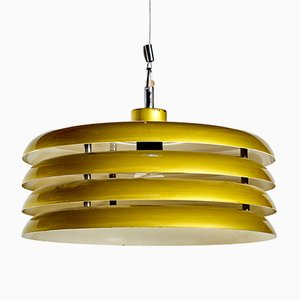 Green Chrome Plated Ceiling Lamp by Tamás Borsfay for Hungarian Craftsmanship Company, 1970s