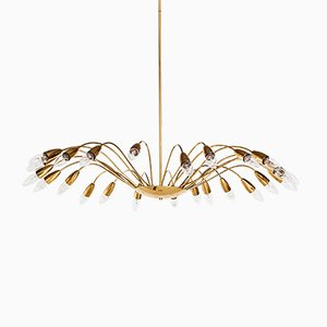 Mid-Century 24-Armed Gilt Metal Chandelier, 1950s