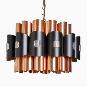 Danish Metal Ceiling Lamp by Werner Schou for Coronell, 1970s