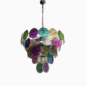 Vintage Italian Multicolored Murano Glass Chandelier, 1980s