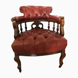 Sedia da scrivania Chesterfield antica in pelle anilina