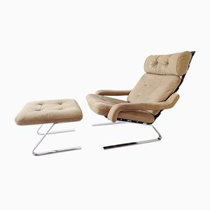 Mid-Century Leather Lounge Chair with Ottoman, 1960s