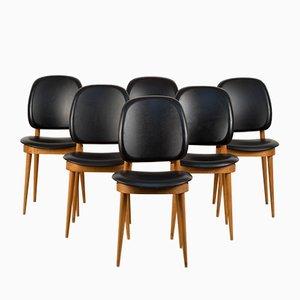 Französische Esszimmerstühle aus Kunstleder & Ahorn von Pierre Guariche für Baumann, 1960er, 6er Set