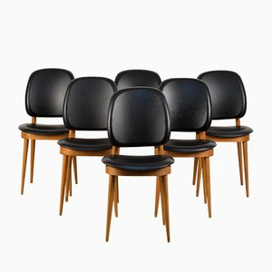 French Leatherette and Maple Dining Chairs by Pierre Guariche for Baumann, 1960s, Set of 6