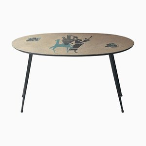 Mid-Century French Ethnic Handpainted Iron Coffee Table, 1950s