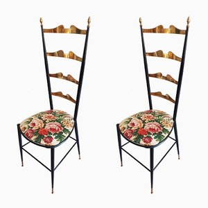Italian Brass and Iron Side Chairs, 1950s, Set of 2