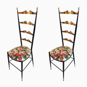 Italienische Beistellstühle aus Messing & Eisen, 1950er, 2er Set