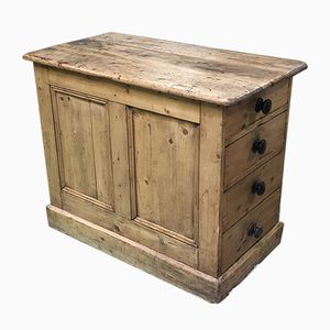Antique Hand-Crafted Fir Worktable