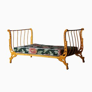 Mid-Century Yellow French Outdoor Forged Iron Bench, 1940s