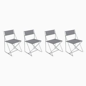 Dänische Esszimmerstühle aus verchromtem Stahl von Niels Jørgen Haugesen für Hybodan, 1970er, 4er Set