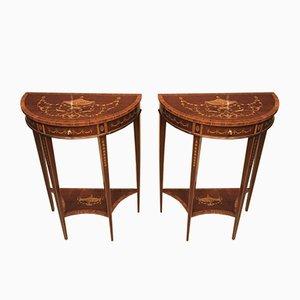 Mesas consola antiguas de caoba. Juego de 2