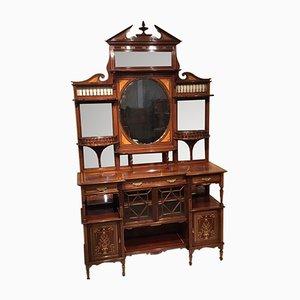 Mueble victoriano antiguo de caoba con incrustaciones