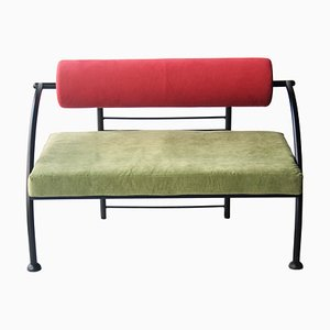 Vintage Memphis Italian Green & Red Geometric Steel Sofa, 1980s