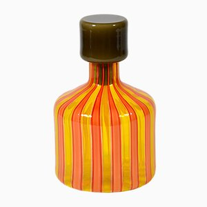 Bottiglia Mid-Century in vetro di Murano A Canne di Vistosi, anni '60