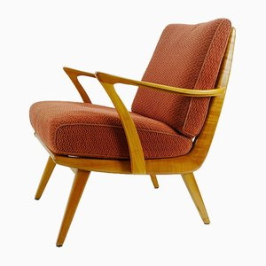 Mid-Century German Cherry and Wool Lounge Chair, 1950s