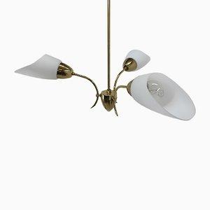 Lampada da soffitto vintage in ottone e vetro, anni '70