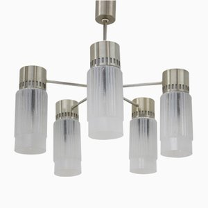 Lámpara de araña alemana vintage de latón y vidrio, años 70
