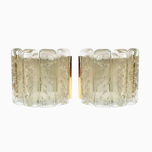 German Structured Ice Glass and Brass Sconces from Doria Leuchten, 1960s, Set of 2