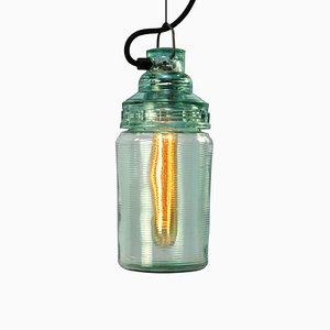 Lampe à Suspension Mid-Century en Verre Vert, 1950s