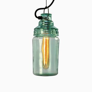 Mid-Century Green Glass Pendant Lamp, 1950s
