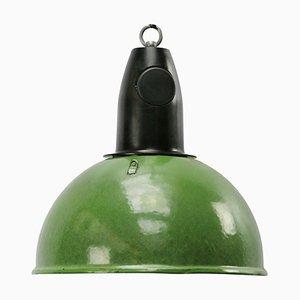 Lampada da soffitto industriale smaltata verde con ripiano in bachelite, anni '50