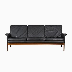 Danish 218 Jupiter Leather and Palisander Sofa by Finn Juhl, 1960s