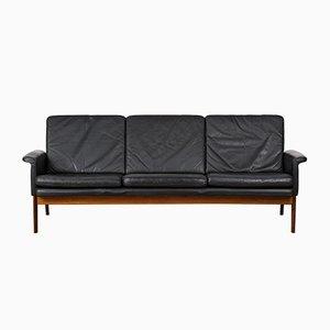 Danish 218 Jupiter Leather and Palisander Sofa by Finn Juhl, 1960s