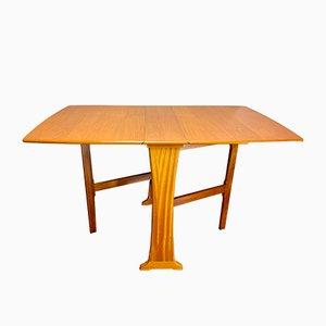 Tavolo da pranzo pieghevole vintage in teak e legno, anni '70