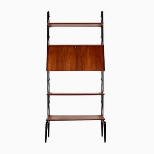 Brass and Teak Modular Shelving Unit by Louis van Teeffelen for WéBé, 1960s
