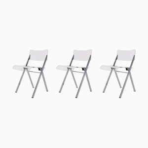 Plexiglas and Steel Folding Chairs by Emile Souply, 1960s, Set of 3