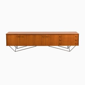Large Mid-Century German Steel & Teak Sideboard, 1960s