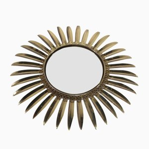 Mid-Century Brass Convex Sun Mirror from Deknudt, 1960s