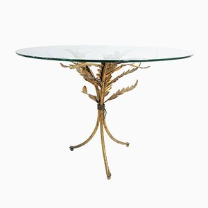 Mid-Century Italian Gilt Metal Palm Leaf Side Table, 1960s