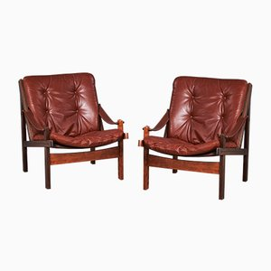 Dänische Hunter Safari Sessel mit Gestell aus Buche von Torbjørn Afdal für Bruksbo, 1950er, 2er Set