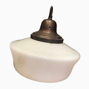 Lampe à Suspension Vintage en Verre Opalin, 1920s
