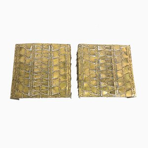 Mid-Century Brutalist Brass Sconces, 1960s, Set of 2