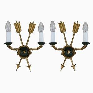 Französische Wandlampen im Empire-Stil, 1940er, 2er Set