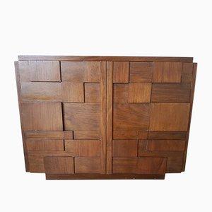 Vintage Brutalist Mahogany Cabinet, 1970s