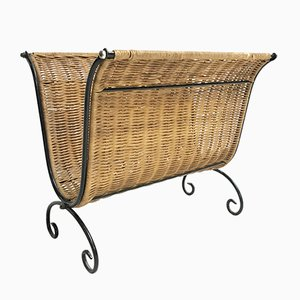Mid-Century French Rattan Magazine Rack, 1960s