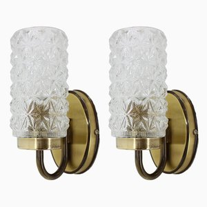 Vintage German Brass and Cut Glass Sconces, 1980s, Set of 2