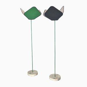 Lámparas de pie italianas de hierro lacado y granito de Ibis, años 70. Juego de 2