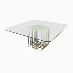 Mid-Century Italian Brass & Glass Dining Table by Romeo Rega, 1970s
