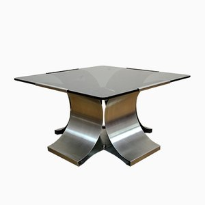 Modernist French Smoked Glass and Steel Coffee Table by Francois Monnet for Kappa, 1970s