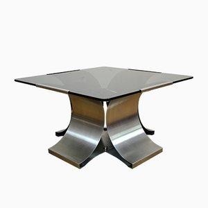Modernistischer französischer Couchtisch mit Stahlgestell & Rauchglasplatte von Francois Monnet für Kappa, 1970er