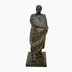 Antike italienische Cicero Skulptur aus Bronze & Marmor von Bassano Danielli