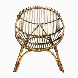 Mid-Century Italian Wicker Lounge Chairs, 1960s, Set of 2