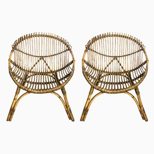 Mid-Century Italian Wicker Lounge Chairs, 1960s, Set of 2
