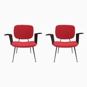 Französische Esszimmerstühle aus Eisen & Flanell, 1950er, 2er Set