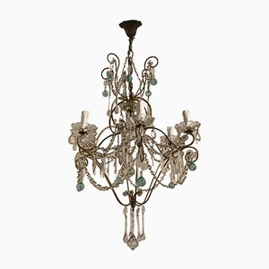Antique Style Italian Crystal and Murano Glass Chandelier, 1950s